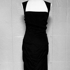 Nicole Miller Silk Side-Ruched Black Midi Dress